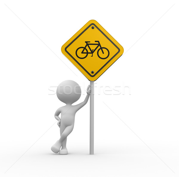 Yellow road sign - bicycle  Stock photo © orla