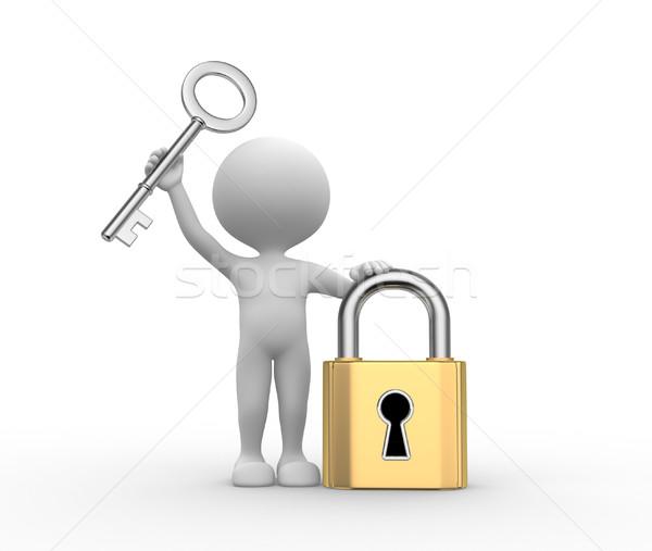 Kłódki kluczowych 3d osób mężczyzn osoby tle Zdjęcia stock © orla