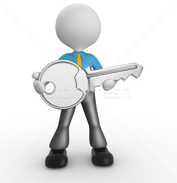 Kulcs 3d emberek férfi személy kéz üzlet Stock fotó © orla