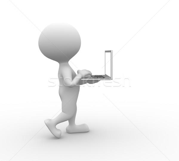 Stockfoto: Laptop · 3d · mensen · mannen · persoon · business · toetsenbord