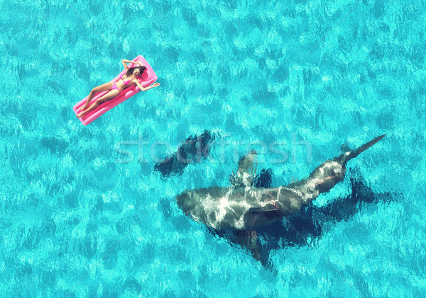 Jong meisje vergadering strand matras haai onderwater Stockfoto © orla