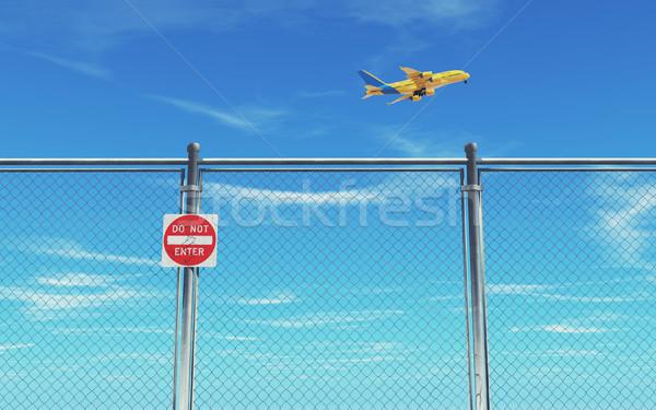 Ograniczony ogrodzenia samolot Błękitne niebo 3d ilustracja Zdjęcia stock © orla
