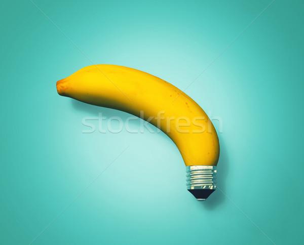 Groene energie vruchten banaan lamp stopcontact staart Stockfoto © orla