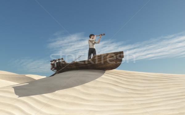 Сток-фото: человека · лодка · глядя · песок · 3d · визуализации · иллюстрация