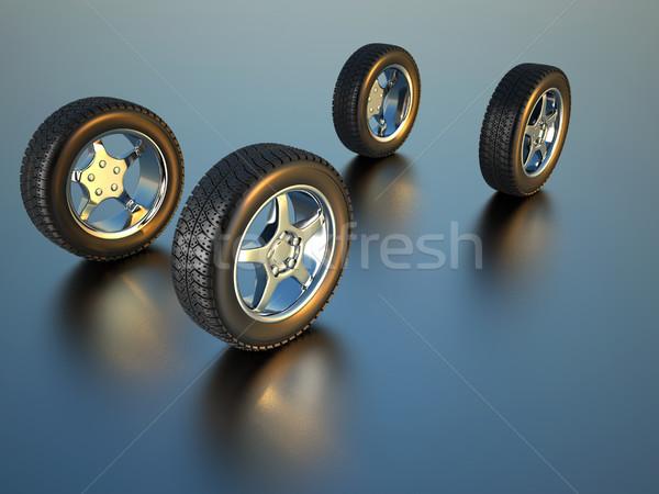 Foto stock: Coche · rueda · 3d · ilustración · cuatro · neumático