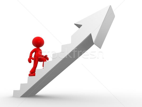 üzletember 3d emberek férfi személy mászik lépcsősor Stock fotó © orla