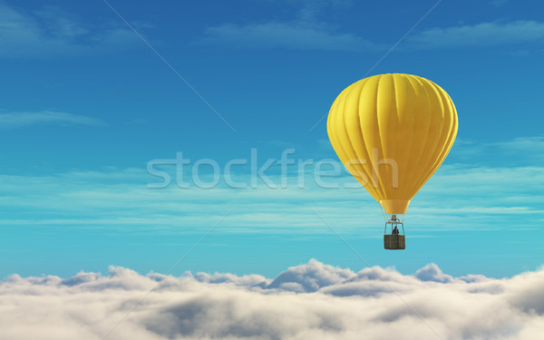 Homme ballon à air chaud jaune ciel bleu rendu 3d illustration Photo stock © orla