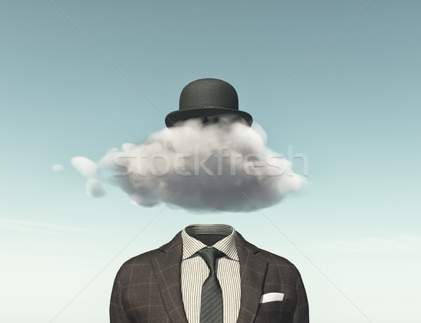 Stock photo: Businessman with a cloud