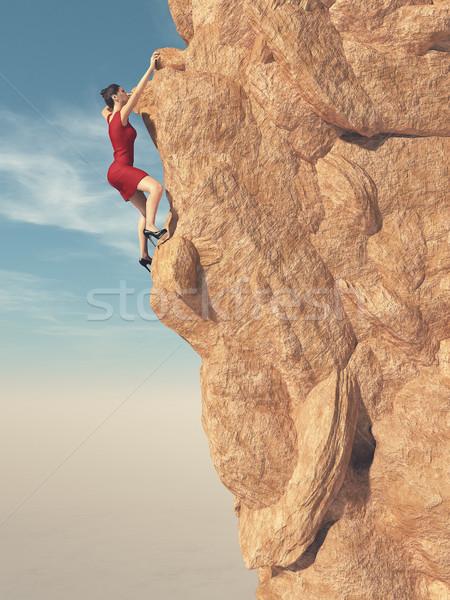 Kırmızı elbise yüksek topuklu tırmanma dağ 3d render Stok fotoğraf © orla