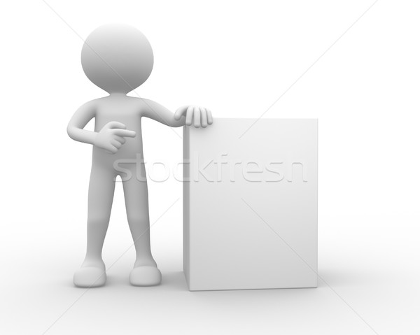 3d people - man, person with blank board  Stock photo © orla