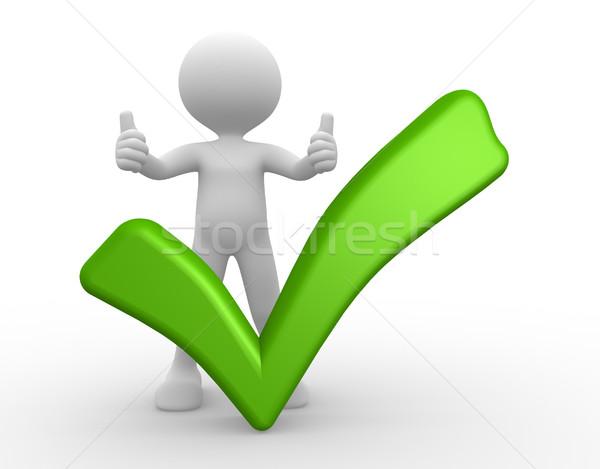3d osób człowiek osoby zielone sprawdzić ocena Zdjęcia stock © orla