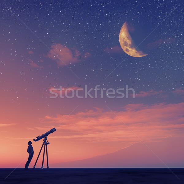 Człowiek teleskop księżyc 3d ilustracja Zdjęcia stock © orla