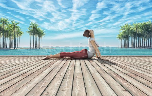 Zomer yoga vrouw houten tropisch strand 3d render Stockfoto © orla