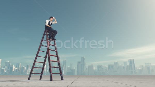 Man naar afstand vergadering ladder kijken Stockfoto © orla