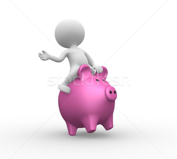 Alcancía 3d personas hombre persona banquero banco Foto stock © orla