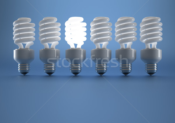 Ampul floresan dizi ışıklar 3d render Stok fotoğraf © orla