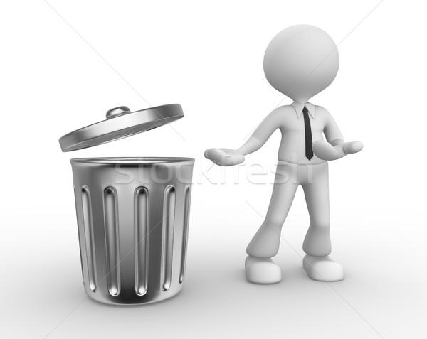 Cesto de lixo 3d pessoas homem pessoa em pé fundo Foto stock © orla