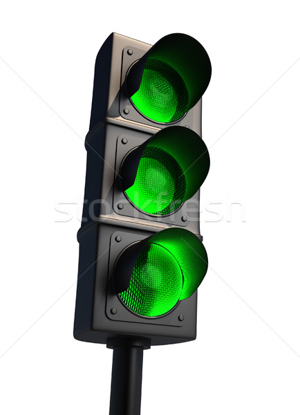 Semáforo aislado blanco 3d carretera cruz Foto stock © orla