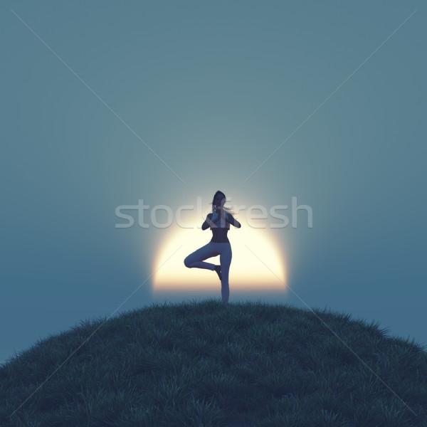 Yoga superior colina puesta de sol 3d Foto stock © orla
