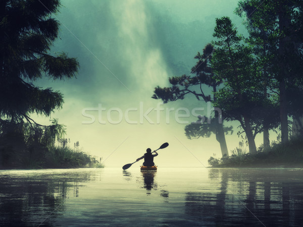 Férfi kajakozás tó vad 3d render illusztráció Stock fotó © orla