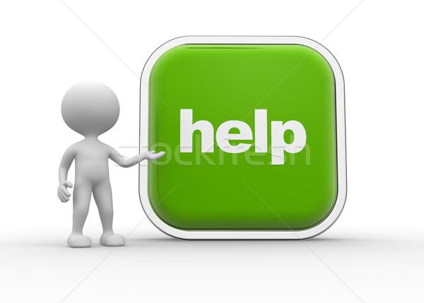 Segítség gomb 3d emberek férfiak személy nagy Stock fotó © orla