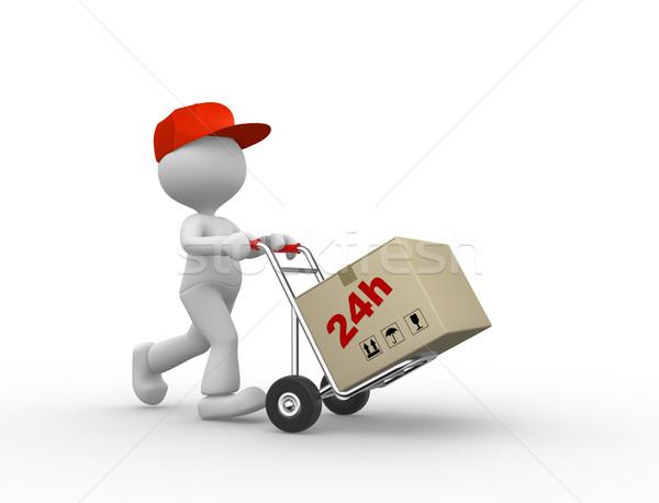 3d emberek férfi személy kéz teherautó csomagok Stock fotó © orla