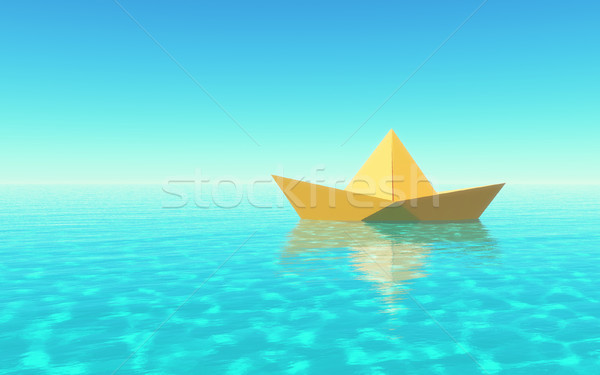 Paper boat sailing  Stock photo © orla