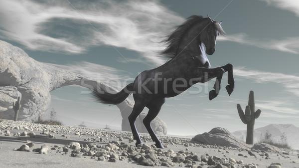 Ló sivatag 3d render illusztráció homok fekete Stock fotó © orla