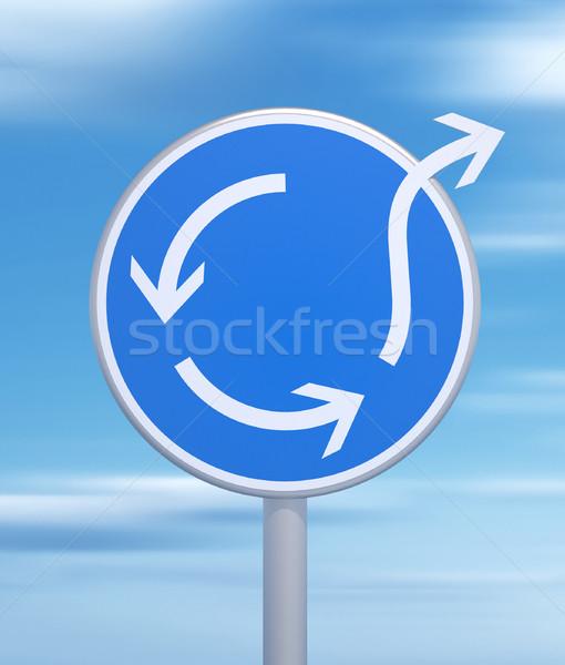 Rotonde teken verschillend 3d render snelweg verkeer Stockfoto © orla