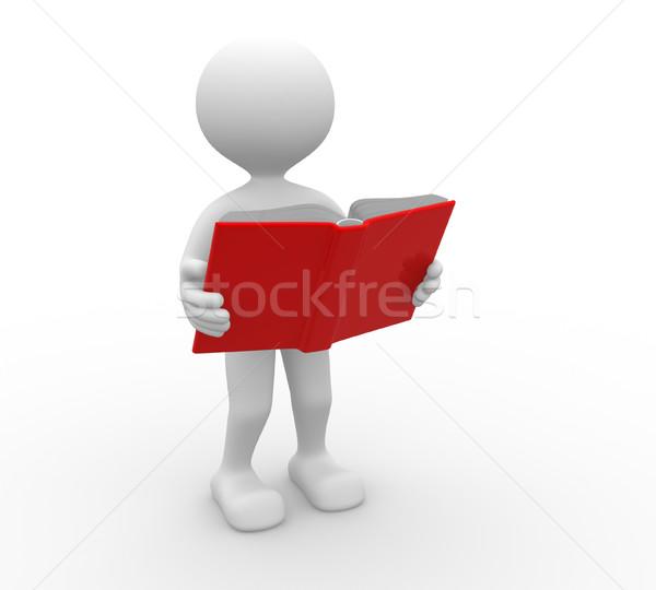 Otwarta księga 3d osób człowiek osoby działalności edukacji Zdjęcia stock © orla