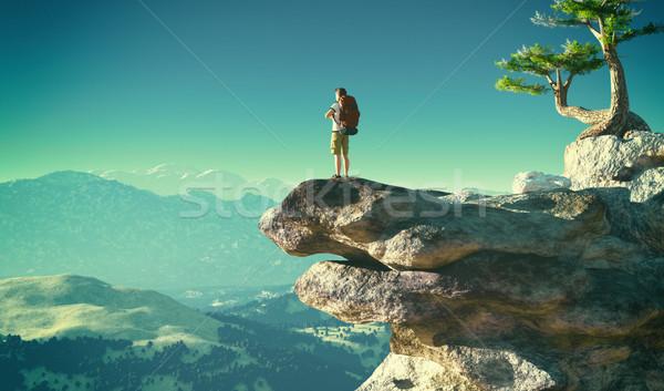 Férfi áll kő felhők kilátás 3d render Stock fotó © orla