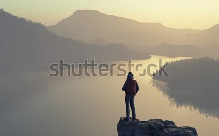 Homme haut montagne lac forêt Photo stock © orla