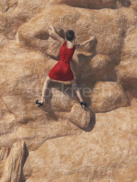 Jeunes femmes robe rouge escalade montagne rendu 3d Photo stock © orla