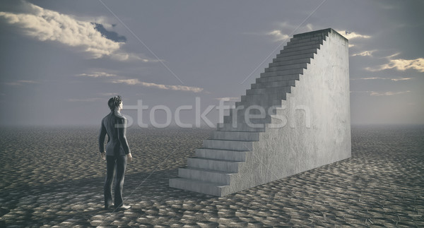 Thinking businessman standing near ladder.  Stock photo © orla
