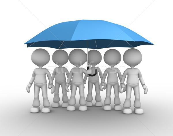 Esernyő 3d emberek férfiak személy kék család Stock fotó © orla