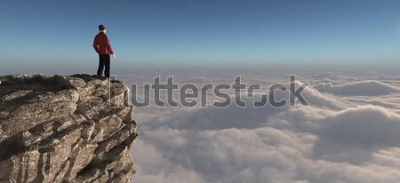 Caminante pie superior montana 3d ilustración Foto stock © orla
