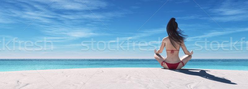 Yoga 3d ilustración playa Foto stock © orla
