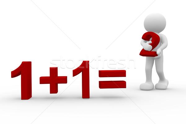 Számtan 3d ember tart helyes válasz 3d render Stock fotó © orla