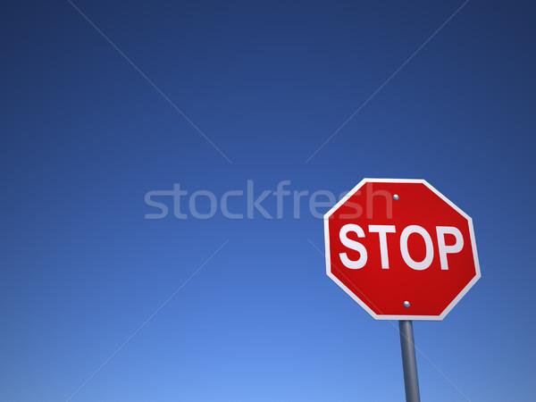 Stopteken 3d render illustratie weg teken veiligheid Stockfoto © orla
