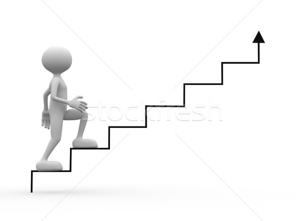3d men walks upstairs - 3d render Stock photo © orla