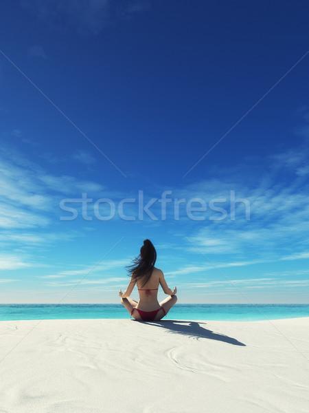 Foto stock: Yoga · océano · 3d · ilustración