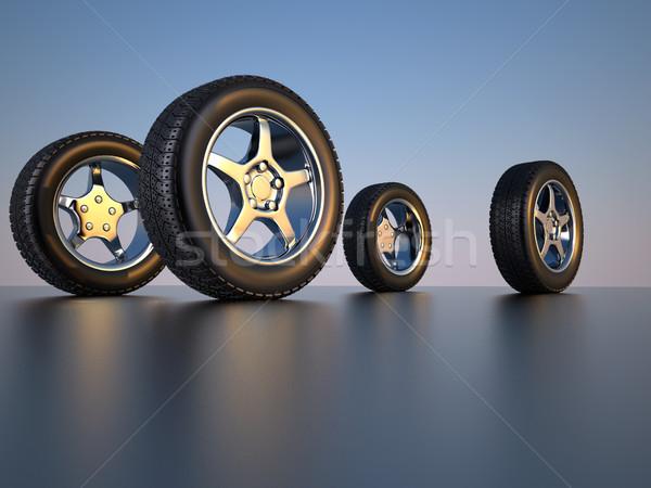 Foto stock: Coche · rueda · neumático · 3d · cuatro · metal