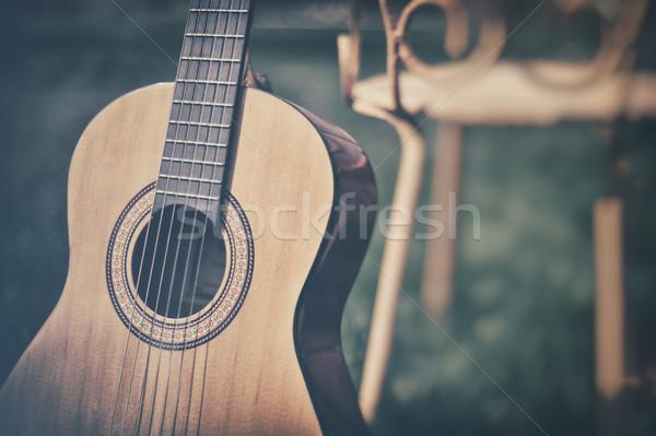 Hiszpanski gitara tekstury zielone kolor obiektu Zdjęcia stock © orla