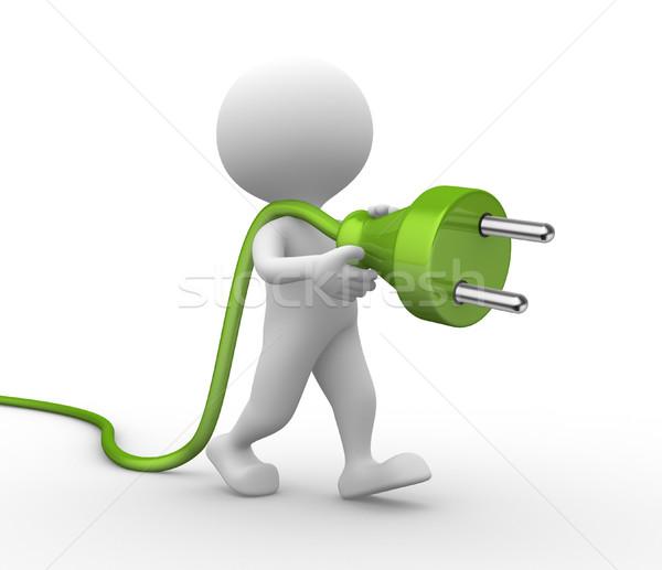 électriques plug gens 3d homme personne ordinateur Photo stock © orla