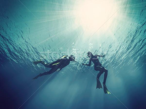 Scuba onderwater 3d render illustratie vis sport Stockfoto © orla