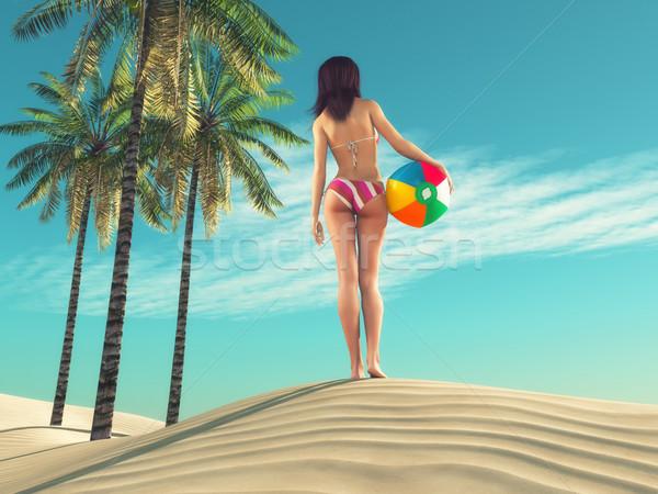 Meisje strandbal jonge vrouwen zand 3d render illustratie Stockfoto © orla