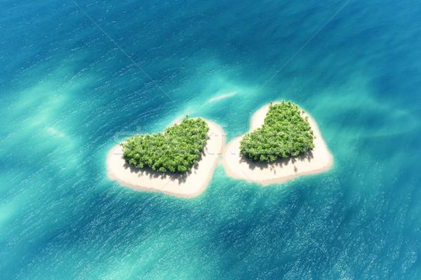 Тропический остров средний океана лодка 3d визуализации иллюстрация Сток-фото © orla