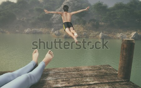 Man jumping with a wooden bridge in the water Stock photo © orla