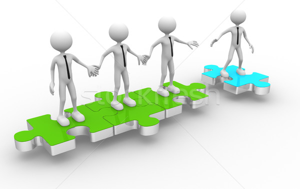 3d man on puzzle joining team work Stock photo © orla