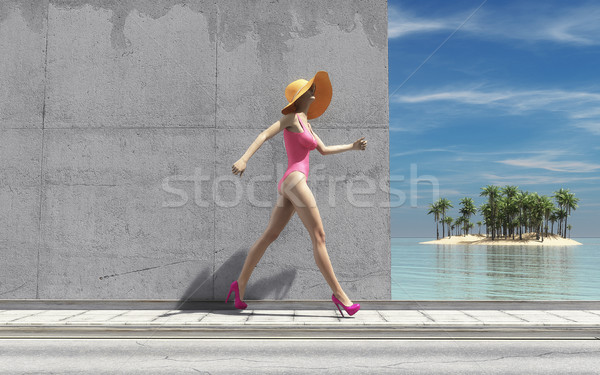 Woman with big hat Stock photo © orla